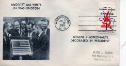 CAP CANAVERAL  GEMINI  4 ASTRONAUT ET PRESIDENT  OBLITÉRATION WASHINGTON DU 17 JUIN1965 - Transports