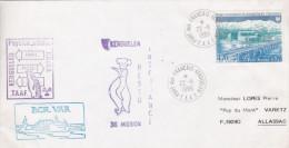 TAAF Port JEANNE D'ARC 4f Obl PORT AUX FRANÇAIS KERGUELEN + RESTO INTENDANCE + BCR.VAR + RACEA Physico-Chimie / Lettre - Covers & Documents