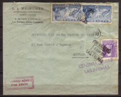 España 1939. Canarias. Correo Aereo De Las Palmas A Amberes. Censura. - Marcas De Censura Nacional