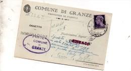 1945  CARTOLINA CON ANNULLO GRANZE PADOVA - Marcophilia