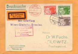 Austria 1927 Air Mail Card Mailed To Gleiwitz - Airmail