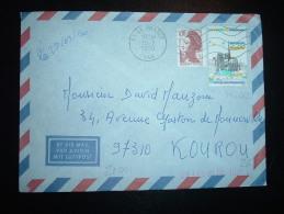 LETTRE PAR AVION POUR GUYANE FRANCAISE TP YT 2582 NOTRE-DAME 2,20F+ LIBERTE 0,10 OBL.MEC.19-3-1990 LE PRADET (83) - Postmark Collection (Covers)