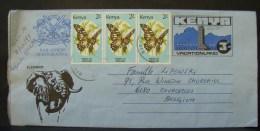 LetDoc. 32. Aérogramme De Nairobi (Kenya) Vers Courcelles (Belgique). Timbres Avec Papillons. - Kenya (1963-...)