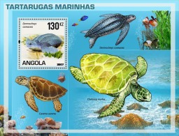 angM1798 Angola 2007  Turtle Fish s/s
