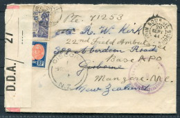 1944 New Caledonia Redirected Triple Censor Cover - Gisborne New Zealand / 22nd Field Ambulance APO - New Caledonia
