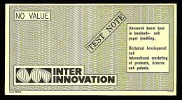 "Test Note ""INTER INNO"", W/o Units, Beids. Druck, RRRRR, UNC , 172 X 92 Mm, Canceled - Schweden"