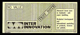"Test Note ""INTER INNO"", W/o Units, Beids. Druck, RRRRR, UNC , Dollar Size 156 X 66 Mm, Canceled - Sweden"