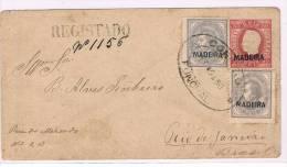 Madeira, 1880, # 31 Dent. 12 1/2; # 32 Dent. 13 1/2, Funchal - Rio De Janeiro - Madeira
