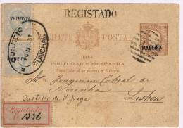 Madeira, 1881, # 31 Dent. 12 1/2, 1 Selo Sob. Invertida, Funchal - Lisboa - Madeira