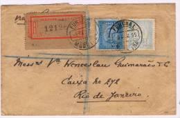 Madeira, 1890, # 58 Dent. 11 1/2; # 56 Dent. 11 1/2, Funchal- Rio De Janeiro - Madeira