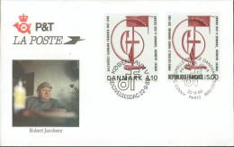 FDC 22/09/88  Emission Conjointe Robert Jacobsen - Paris & Copenhague - France YT N° 2551 Danemark YT N° 931 - 1980-1989