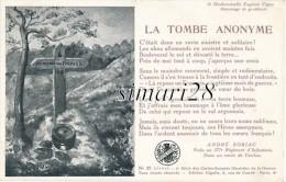 4e SERIE DES CARTES SONNETS ILLUSTREES DE GUERRE - N°37 - A. SORIAC 277 E R I - LA TOMBE ANONYME - Patriotic