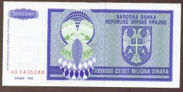 CROATIA 10.000.000 Dinara 1993  SERIE AA   REPUBLIKE SRPSKE KRAJINE - Kroatië
