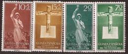 GUI384-L4162TRCR.Guinee GUINEA ESPAÑOLA.PRO INGIGENA.Misionero Y Crucifijo. 1958..(Ed 384/87**)s.charnela - Cristianismo