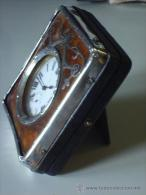 ANTIQUE SWISS WATCH LÉPINE SILVER METAL  - WITH DESKTOP CASE MADE OF WOOD - PUNCH ENGLISH CITY OF BIRMINGHAM YEAR 1909 - Watches: Old