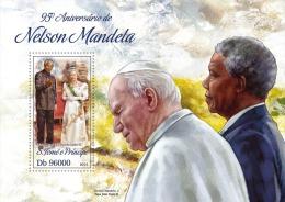 st13412b S.Tome Principe 2013 95th Anniversary of Nelson Mandela s/s Nobel Prize Pope John Paul II