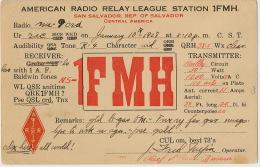 QSL American Radio San Salvador P. Used Entero Postal 1926 Entier Postal - Salvador