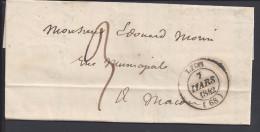FR - 1842 - RHONE -  PLI DE LYON EN PORT PAYE - TAXE A 3 DECIMES POUR MACON - - Marcophilie (Lettres)