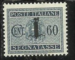 ITALIA REGNO ITALY KINGDOM 1944 REPUBBLICA SOCIALE ITALIANA RSI TASSE TAXES SEGNATASSE FASCIO CENT. 60 MNH - 4. 1944-45 Social Republic