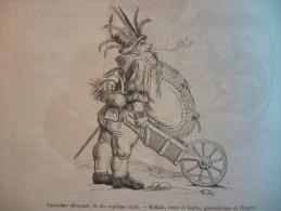 Caricature Allemande Du XVIIéme , Mathias , Comte De Gallas , Généralissime De L'Empire , Gravure De 1881 Avec Texte - Documenti Storici
