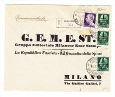 "Italien 1944 -  Mi# 642 (x3) + 633 Auf Vorduck R-Brief ""Borgosesia 15.3.44"" Nach Milano Sign. Raybaudi - Italien"