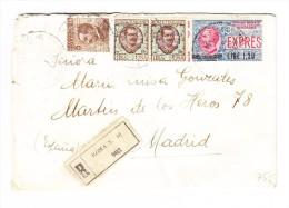 Italien 1921 -  Mi# 136 I, 83 91 Auf  R-Eilboten-Brief Von Roma Nach Madrid - Italien