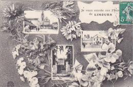 23440 Je Vous Envoie Ces Fleurs De LIMOURS Et 3 Vues De CP Chateau Pivot Mairie Eglise- Ed Bauer Nancy - Limours