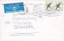 Kenya By Airmail KWANDEGE Kenya AIRWAYS Label NAIROBI 1994 Cover Brief To STEGE Denmark Bird Vogel Oiseau Stamps (Pair) - Kenia (1963-...)