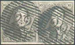 N°1(2) - Epaulettes 10 Centimes Brunes En Paire, Très Bien Margée, Obl. P.22 BRAINE-le-COMTE Idéalement Apposées Sur Cha - 1849 Epaulettes