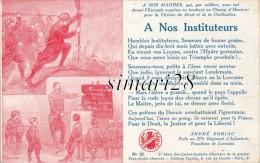 3e SERIE DES CARTES SONNETS ILLUSTREES DE GUERRE - N°23 - A. SORIAC 277 E R I - A NOS INSTITUTEURS - Patriotic