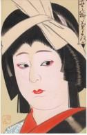 Japanese Beautiful Woman, High Fashion, Artist Illustrated Image, C1910s Vintage Card - Asian Art