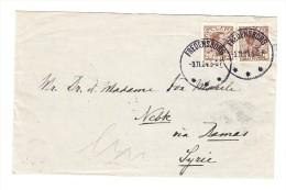Dänemark 1924 - Mi#121 (x2) Auf Brief Von Fredensborg Nach Nebik Via Damas Ankunft Und Transitstempel - 1913-47 (Christian X)