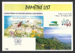 Czech Rep. / Commemorative Sheet (PaL 2011/01 A) Praha 1: Nature Protection On Stamps - Lower Morava (UNESCO) - Blocks & Sheetlets