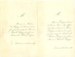 Faire Part Mariage 1866 Ste Livrade, Melle Hélène Doazan De Lectoure Avec Mr Numa Lagrèze - Wedding