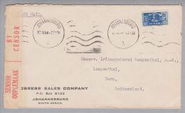 Südafrika 1944-12-12 Johannesburg Zensurbrief Nach Langenthal Schweiz - Afrique Du Sud (1961-...)