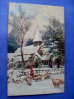 Raphael TUCK- Winter´s Mantle. Eglise,neige,moutons. - Tuck, Raphael