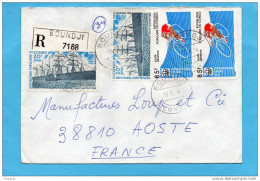 """MARCOPHILIE-lettre -congo  Cad- 1976-4 Stamp  N°A 212-Cyclisme- Sport -N°A 212-Bateau""""great Easternrn"""" - Congo - Brazzaville"""