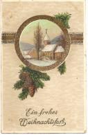 Joyeux Noel En Allemand (Weihnachtsfest) Avec Cachet à Date Bischheim Hönheim 1913 - Other