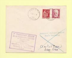 1er Transport Aerien De Courrier Sans Surtaxe - France Pays Bas - 1937 - Type Paix + Victor Hugo - Postmark Collection (Covers)