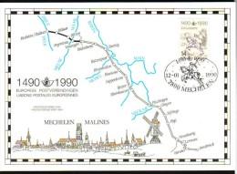 """Carte-souvenir Du 500ème Anniversaire De La Liaison Postale """"Innsbrück-Malines"""" - COB N° 2350HK - Cartoline Commemorative"""