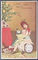 CLARK's  SPOOL  COTTON  THREAD  CARD  1887  LITTLE  GIRL  DOLL  CHRISTMAS - Advertising