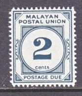Fed. Of MALAYA  J 21  Perf  14   *  Wmk. 4  1951-4  Issue - Malayan Postal Union
