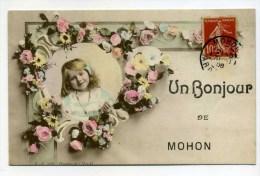 CPA  08 :   Un Bonjour De MOHON  Avec Jeune Fille  1908   A  VOIR   !!! - Altri Comuni