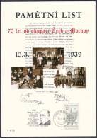 Czech Rep. / Commemorative Sheet (PaL 2009/02) 119 00 Praha 012: 70 Anniv. Of Occupation Czechoslovakia (Hacha, Hitler) - Blocks & Sheetlets