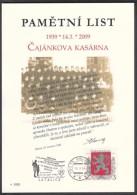 Czech Rep. / Commemorative Sheet (PaL 2009/01) 190 15 Praha 915: Czajankova Military Barracks (70 Anniv. Resistance 1939 - Blocks & Sheetlets