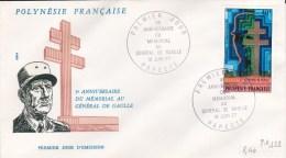 1977 - POLYNESIE - YVERT POSTE AERIENNE N°123 (DE GAULLE) Sur ENVELOPPE FDC - - Polynésie Française