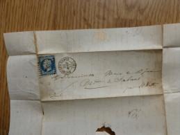 LETTRE  AVEC TIMBRE NAPOLEON III NON DENTELEE - Marcophilie (Lettres)