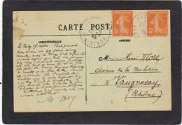 Yvert  158 Paire Avec Inter Panneau Semeuse Cachet  Perlé ILE GARO Finistère 1923 Sur Carte Postale Bateau - Frankreich