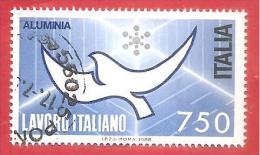ITALIA REPUBBLICA USATO - 1988 - Lavoro Italiano - 2ª Emissione - Aluminia Spa - £ 750 - S. 1850 - 6. 1946-.. Repubblica