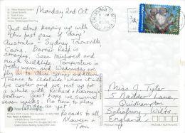 Wildlife, Kangaroo, Koala, Sunbird, Butterfly, Australia Postcard Used Posted To UK 2006 Stamp Self Adhesive Internat #1 - Australien